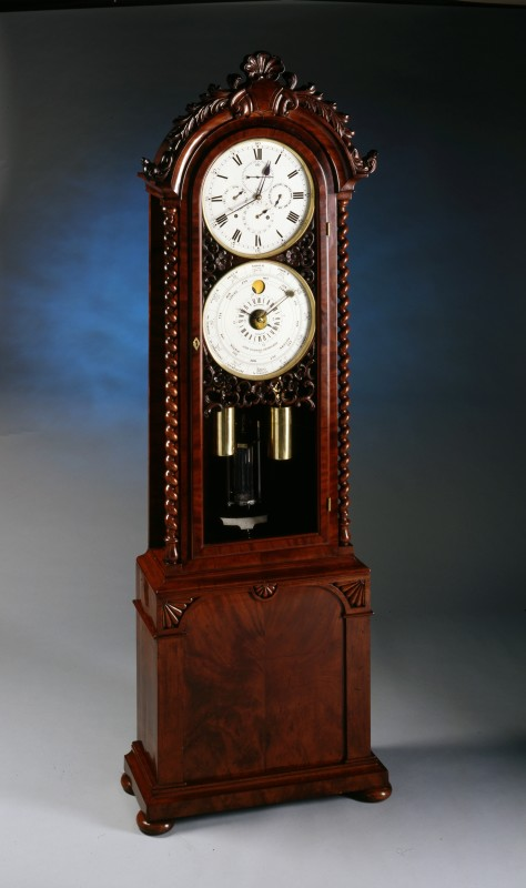 A longcase regulator, month going with annual calendar quarter strike, by John Woodwiss, Birmingham 1862