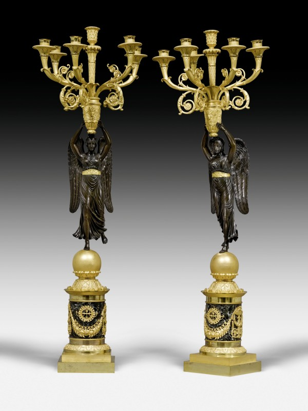 A pair of Empire six-light candelabra attributed to Pierre-Philippe Thomire , Paris, date circa 1810-15