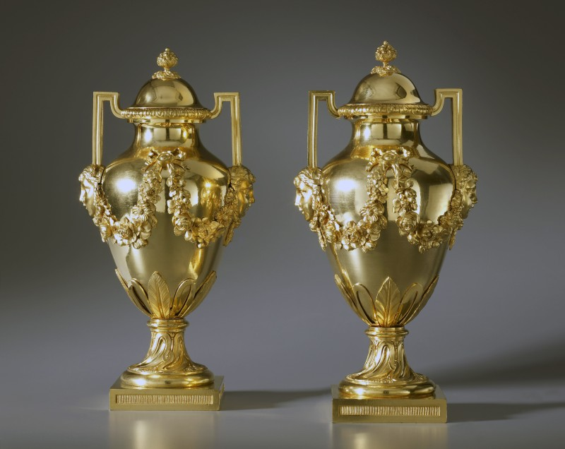 A pair of Louis XVI covered urns, Paris, date circa 1780-85