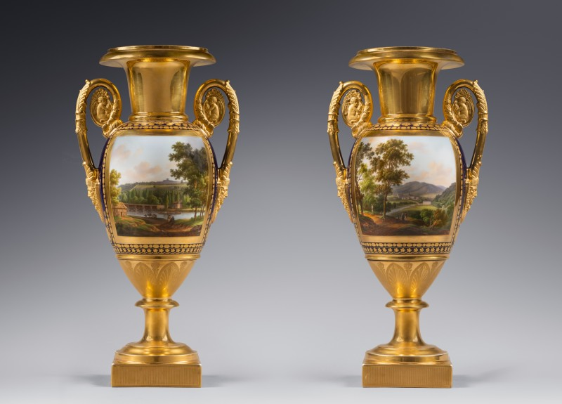 A pair of Restauration two-handled vases probably by Nast Frères Manufactory, Paris, date circa 1820
