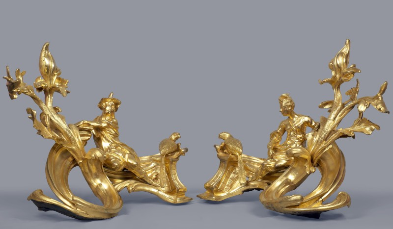 A pair of Louis XV chenets attributed to Jacques Caffiéri, Paris, date circa 1745-49