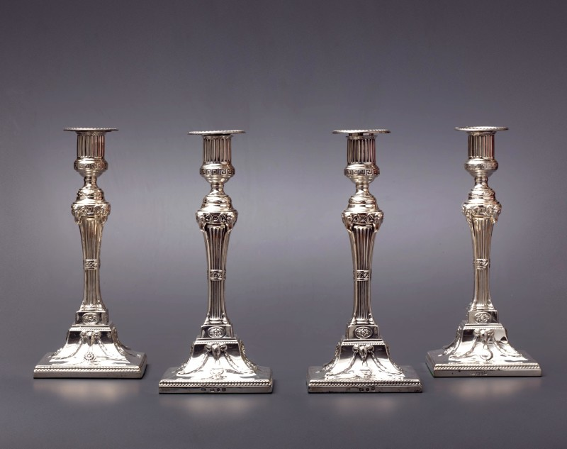 A set of four 18th Century candlesticks, London, 1774