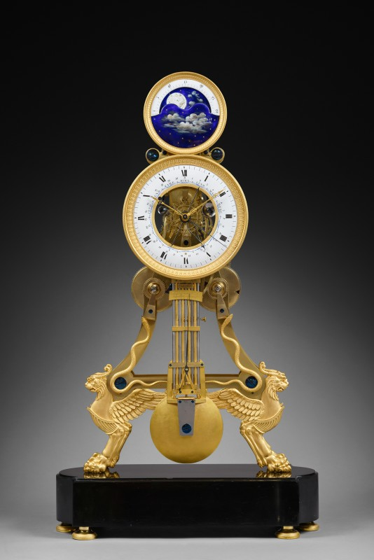 A large Directoire/Empire skeleton clock of month duration, dials attributed to either Joseph Coteau or Etienne Gobin, known as Dubuisson, Paris, date circa 1795-1805