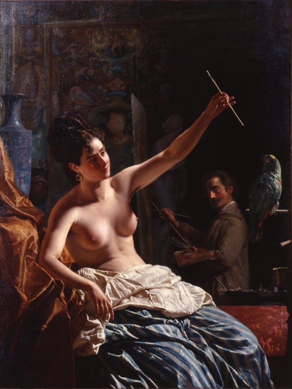 """The Artist and his Model"" by Napoleone Nani, Probably Rome 1884"