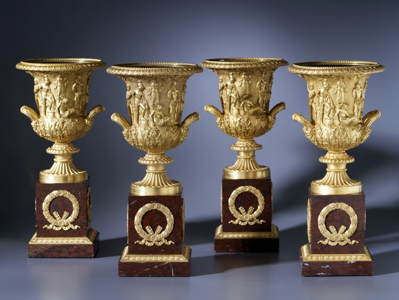 A set of four Empire Medici Vases on pedestals attributed to Pierre-Philippe Thomire , Paris, date circa 1810
