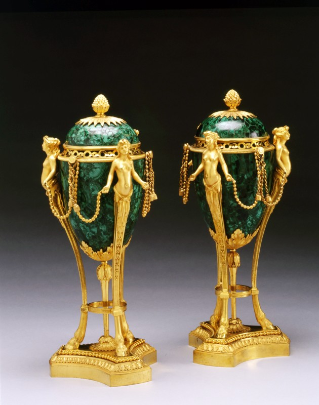 A pair of Louis XVI figural cassolettes, Paris, date circa 1780