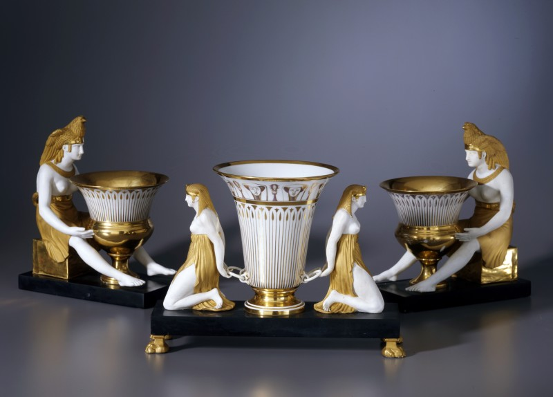 An Empire Egyptian revival parcel surtout de table by Dagoty, Paris, date circa 1805-1810