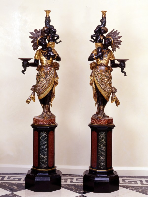 A pair of North Italian Blackamoors, North Italy, date circa 1860