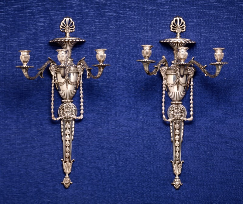 A pair of English silver plated wall lights, London, date circa 1880