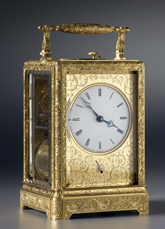 A Louis-Philippe grande and petite sonnerie striking carriage clock, by Breguet Neveu Compagnie, Paris, date 1844