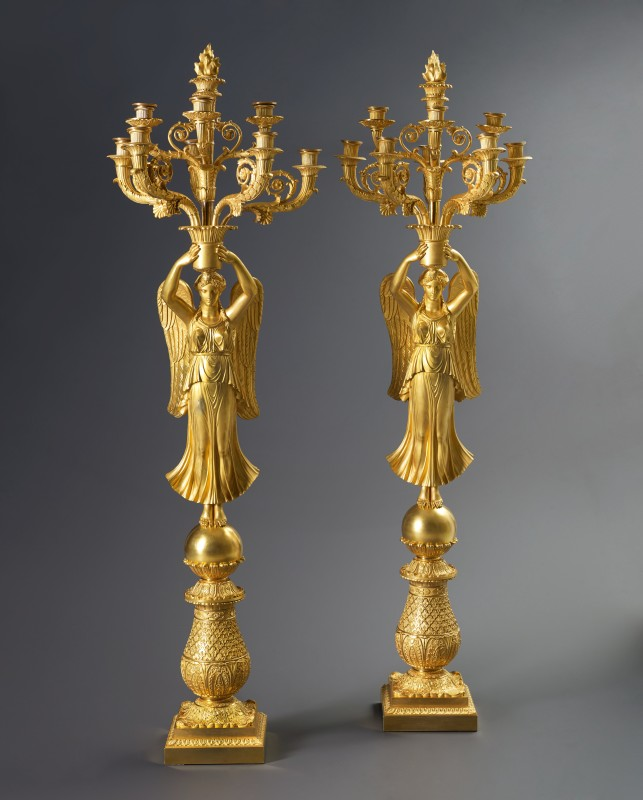 A pair of late Empire nine-light candelabra à la Victoire attributed to Thomire et Cie, Paris, date circa 1820