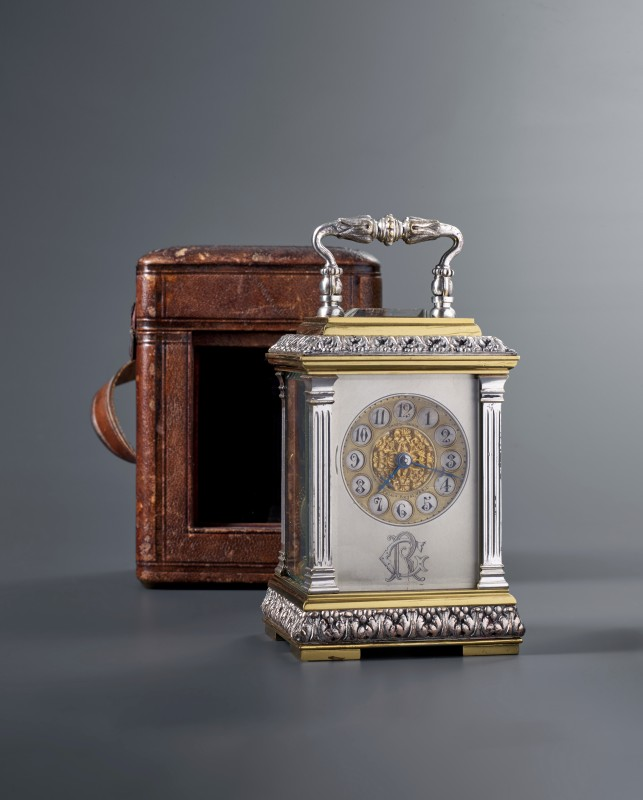 A late nineteenth century French petite carriage clock of eight day duration by Charles Oudin, PAris, date circa 1880-90