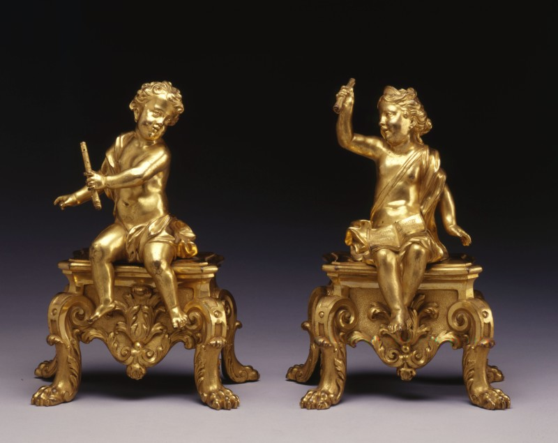 A pair of Louis XV figural chenets, Paris, date circa 1720