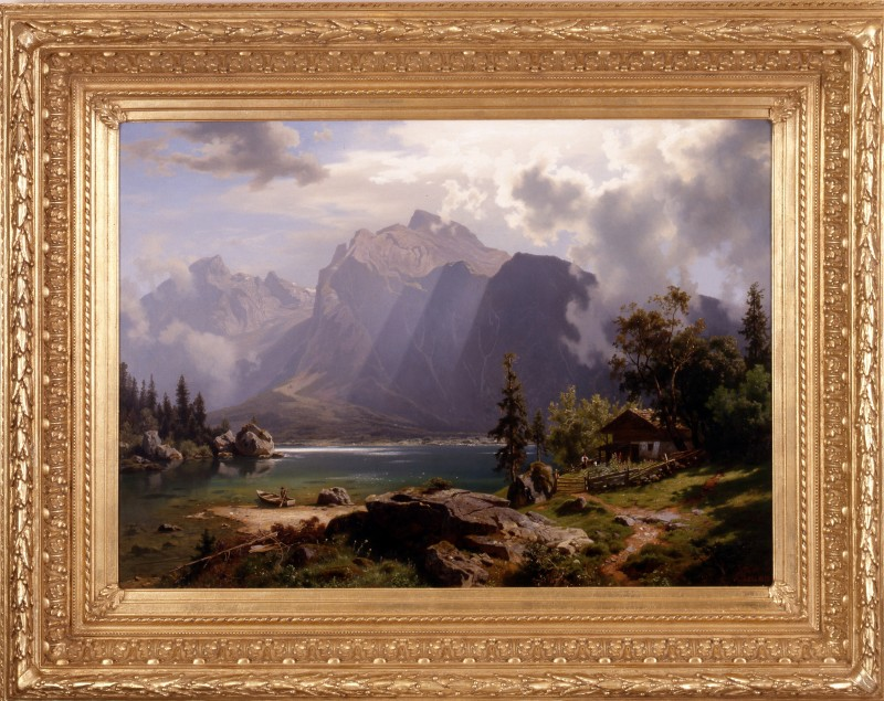 """Landscape"" by August Leu, Germany, dated 1870"