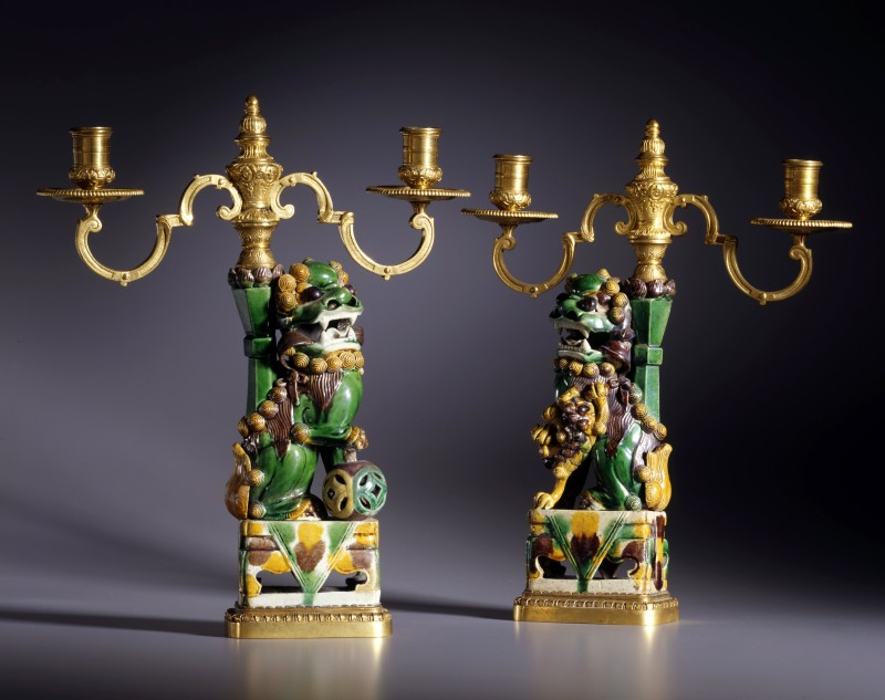 A pair of K'ang Hsi period three-light candelabra attributed to Escalier de Cristal, The Porcelain: Chinese, Qing dynasty, K'ang Hsi period (1662-1722)The gilt mounts: Paris, date circa 1860-80