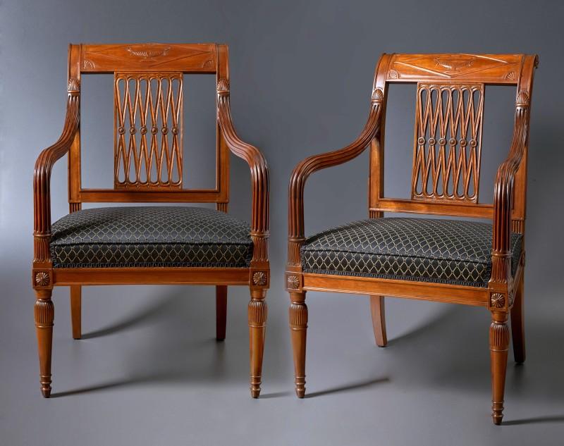"""A set of four late 18th Century fauteuils """"A La Reine"""" by Georges Jacob, Paris, date circa 1795"""