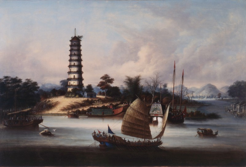 """The Nine-Stage Pagoda at Whampoa Anchorage"" , circa 1830-50"