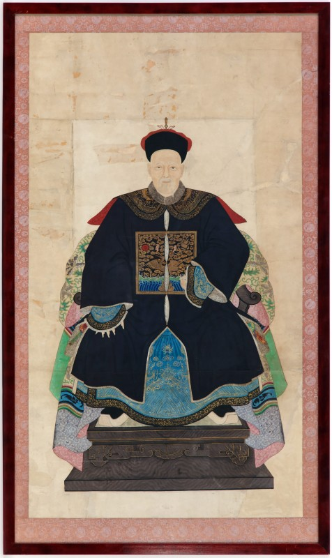 A Chinese late Qing dynasty ancestor portrait showing a senior official of the first rank, China, late 19th Century