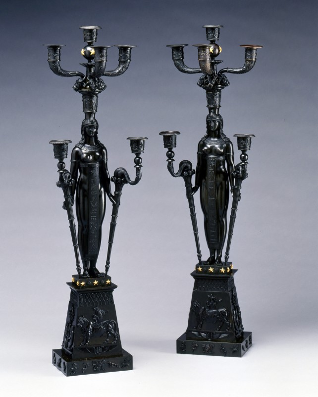 A pair of Empire six-light candelabra attributed to Pierre-Philippe Thomire, after a design by Charles Percier, Paris, date circa 1805-10