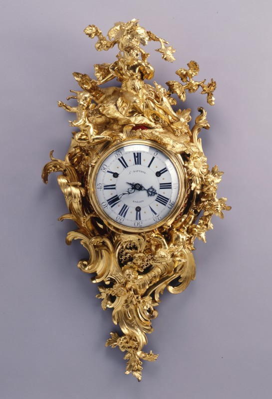 A Louis XV figural cartel clock by Baptiste Baillon, enamel work by Antoine-Nicolas Martinière, Paris, dated 1745