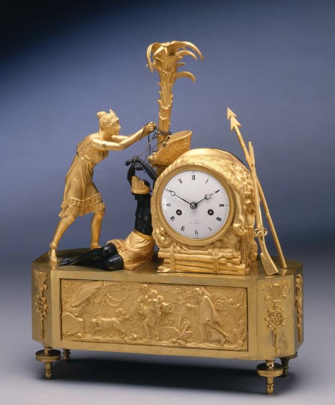 An Empire figural clock depicting the model of Atala freeing Chactas, Paris, date circa 1805