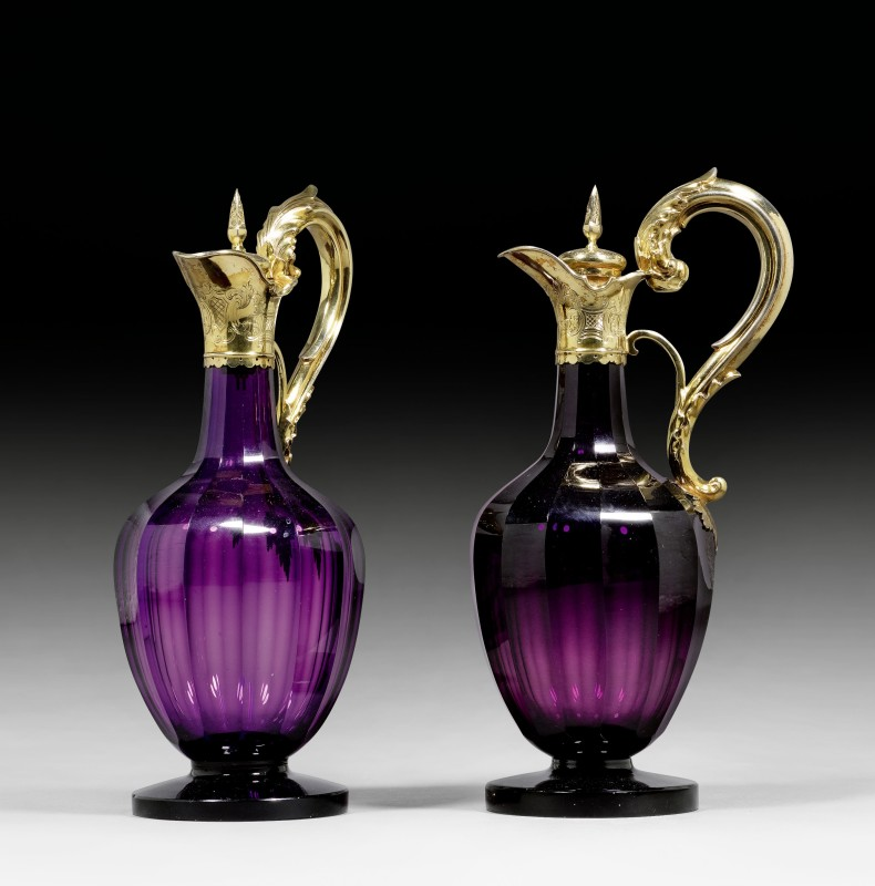 A pair of Regency mounted claret jugs by Reily and Storer, London, dated 1830