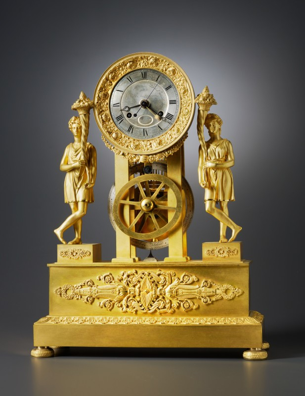 A Restauration mantel clock with equation of eight day duration by Blondeau, Paris, date circa 1820-30