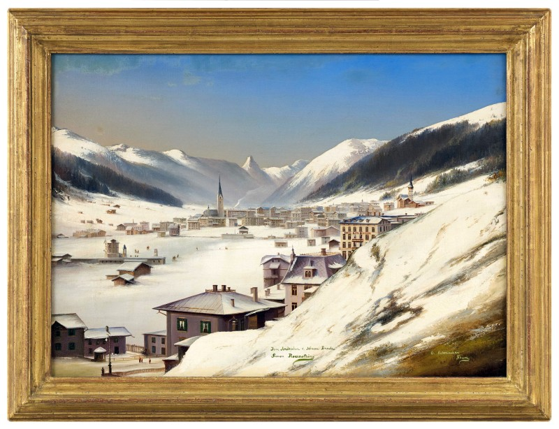 "A pair of paintings ""Davos in the Snow"", by G. Schmocker, Davos, date circa 1880"