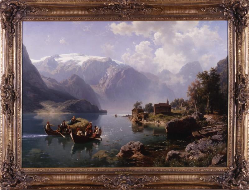 """Landscape"" by August Leu, Germany, dated 1862"