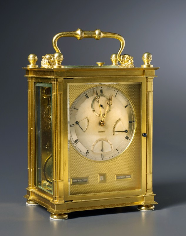 A Restauration grande sonnerie striking carriage clock with push repeat, calendar and equation of eight day duration by Antoine Blondeau, Paris, date circa 1825-30