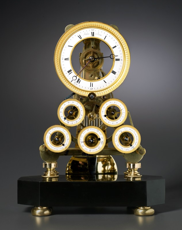Robert Robin, A Directoire multi-dial skeleton table regulator of eight day duration by Robert Robin, Paris, date circa 1796-99