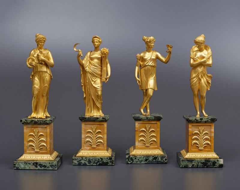 An set of four Empire statuettes for a surtout de table attributed to Pierre-Philippe Thomire, Paris, date circa 1810