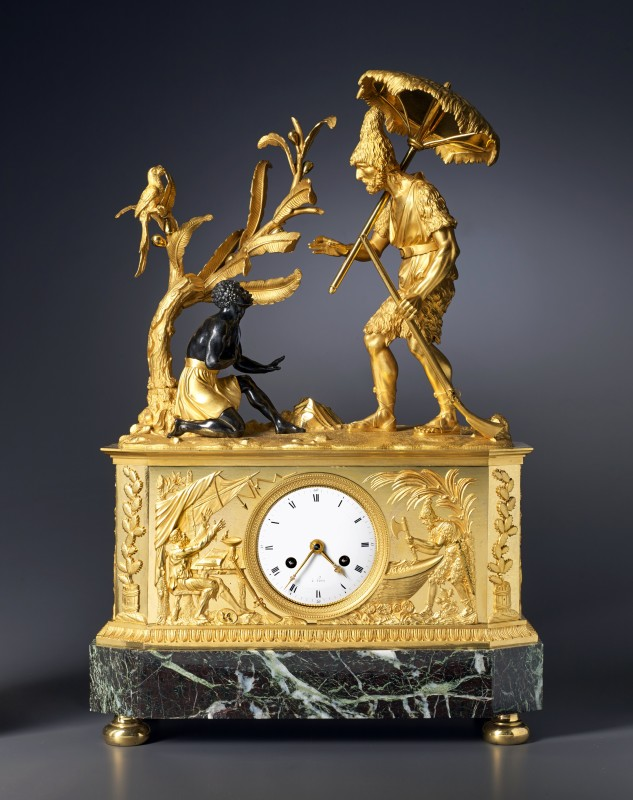 An Empire clock depicting Robinson Crusoe and Friday, attributed to Claude Galle, Paris, date circa 1805