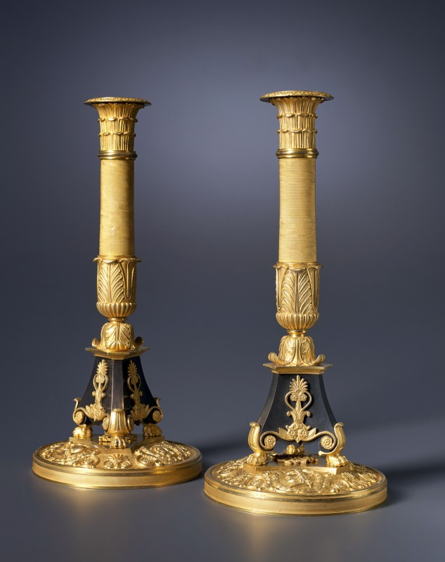 A pair of Empire candlesticks, attributed to Pierre-Philippe Thomire, Paris, date circa 1810