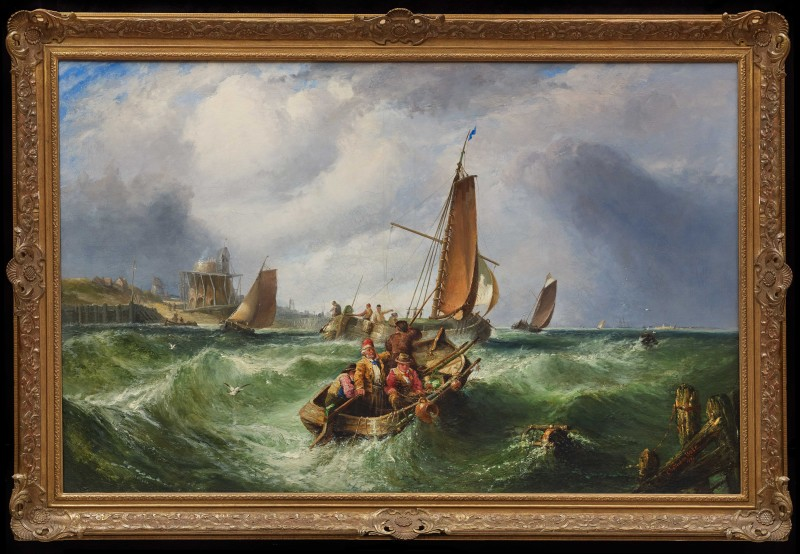 """Fishing off the Coast"", by John Cheltenham Wake, dated 1867"