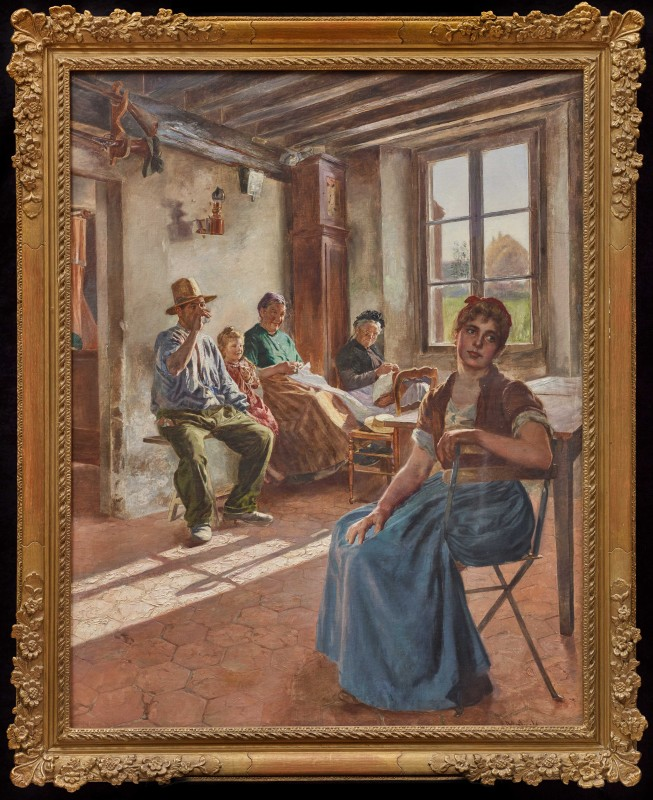 """A Rural Interior"" by Camillo Melnik, date circa 1890"