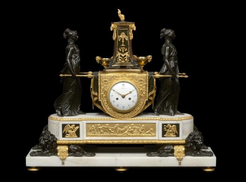 A Louis XVI mantel clock representing the Vestal Virgins Carrying the Sacred Fire by Pierre-Claude Raguet-Lépine, Paris, date circa 1790-91