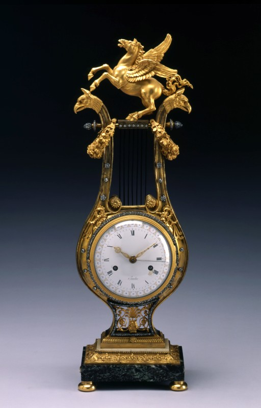 A Louis XVI lyre clock with movement by Jean-Simon Bourdier, Paris, date circa 1785