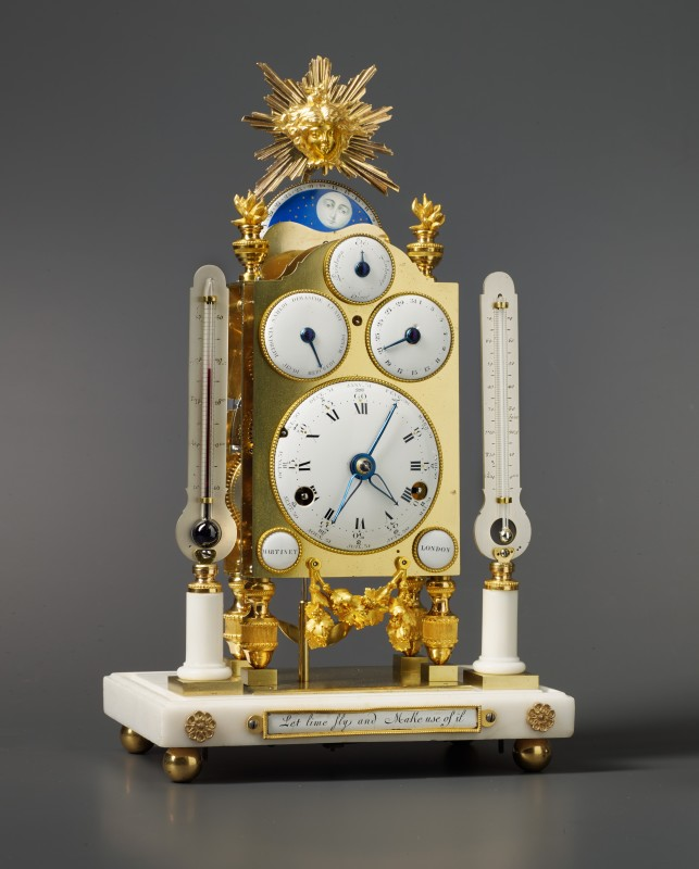 Hubert Martinet, A George III astronomical miniature striking skeleton clock, by Martinet, London, circa 1780
