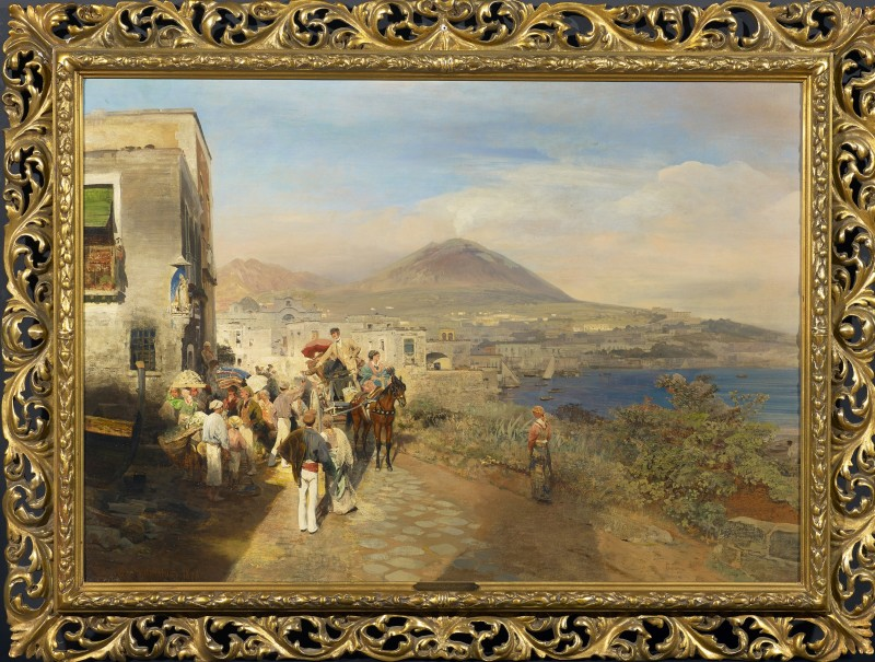 "Oswald Achenbach, ""Travellers at the Golf of Naples"" by Oswald Achenbach, 1878"