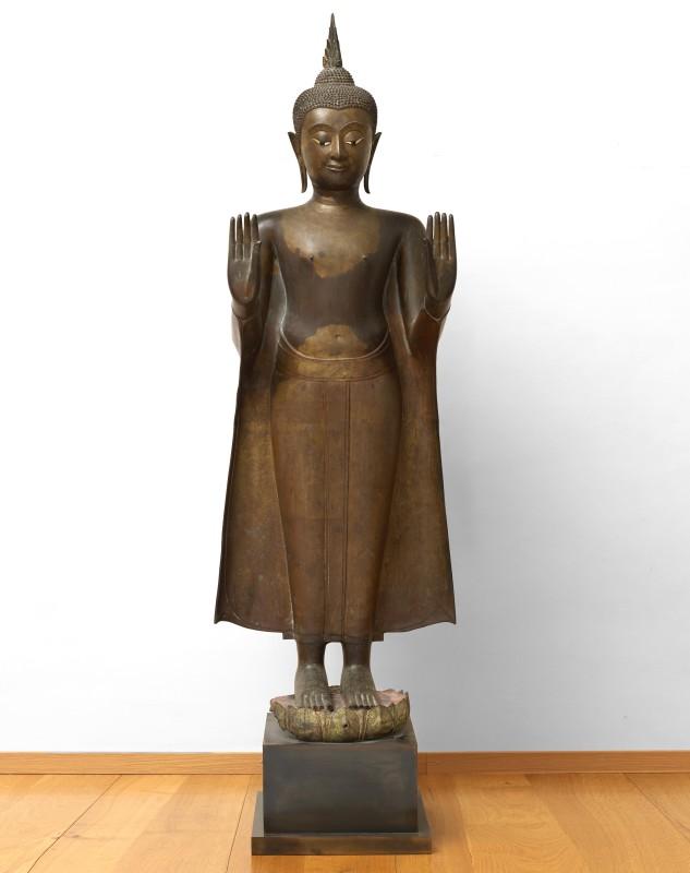 A late 17th Century Standing Buddha in Abhaya Mudra, Thailand, date circa 1690