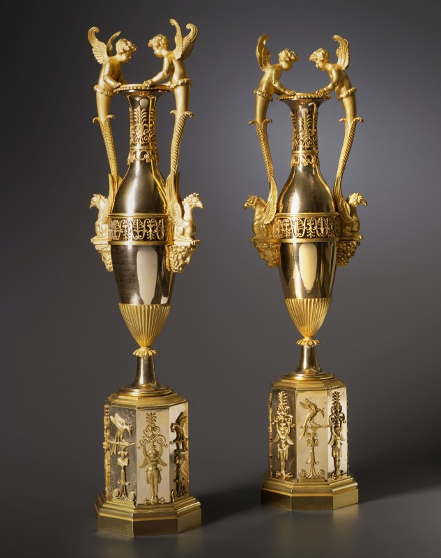 "A pair of Empire vases ""aux amours"" attributed to Claude Galle, Paris, date circa 1805-10"