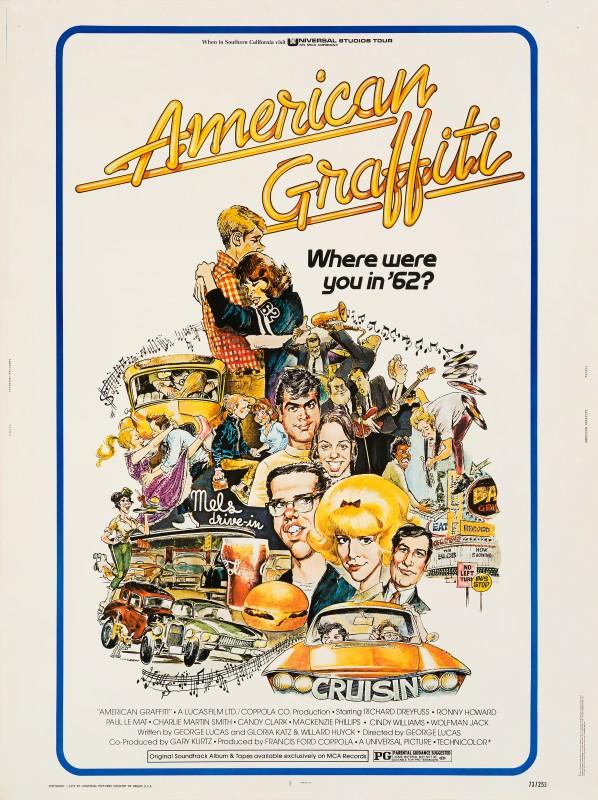 American Graffiti, 1973 Mort Drucker US 30x40 Film poster 40 x 30 in. (102 x 76 cm.) Unfolded cardstock, not backed