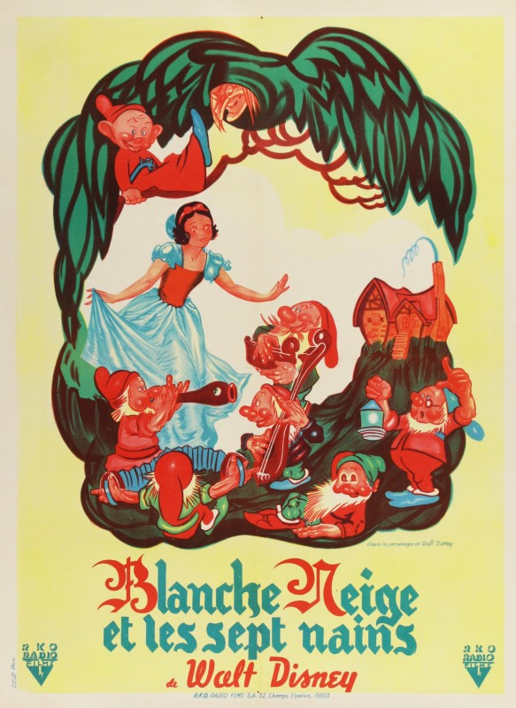 Snow White and the Seven Dwarfs, 1951 Re-release Bernard Lancy French Moyenne Film Poster 31¾ x 23½ in. (80.5 x 60 cm.) Backed on linen Printed in France by I.C.P. Paris