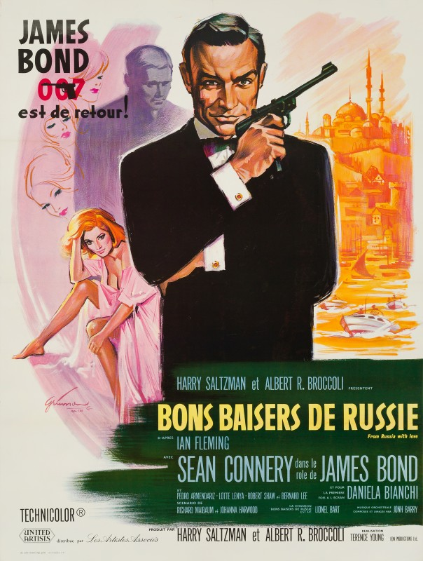 From Russia With Love, 1963 Boris Grinsson French Grande Film Poster 63¼ x 47 in. (160.5 x 119.5 cm.) Backed on linen Printed in France by Ets. Saint-Martin Imp., Paris