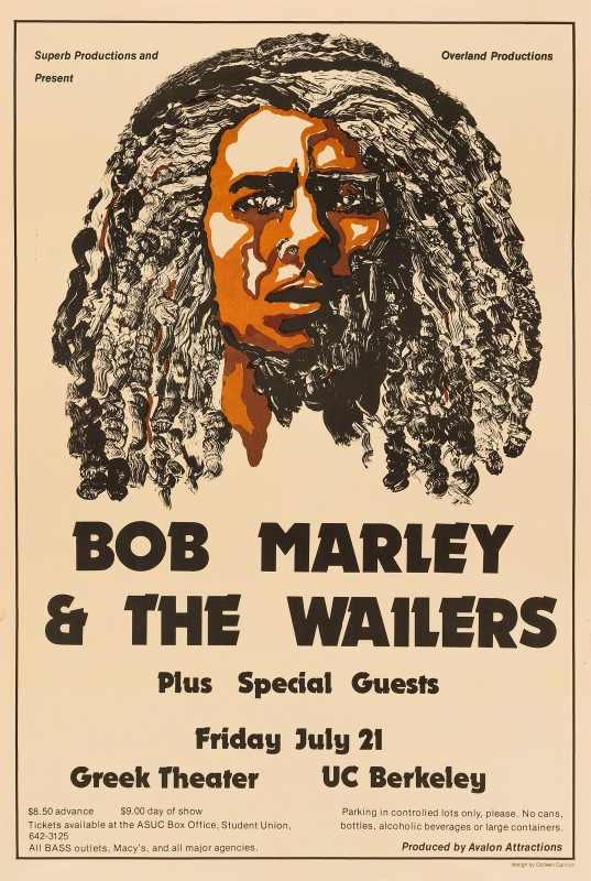 Bob Marley & The Wailers, 1978 Colleen Cannon US Concert Poster 18 x 12 in. (45.7 x 30.5 cm.) Unfolded, not backed