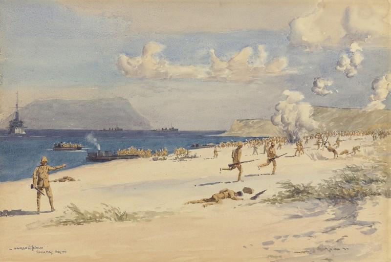 Troops landing on 'C' beach, Suvla Bay, 7th August 1915