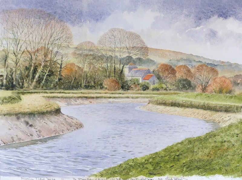 Gordon Rushmer , Incoming tidal surge, The River Adur and St. Botolph's Church