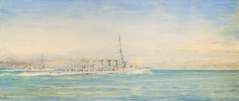 Launched on 14th May, 1914, H.M.S. Galatea was a Arethusa-class light cruiser of the Royal Navy who served firstly at Harwich and then with the Grand Fleet at the battle of Jutland, 31st May, 1916.