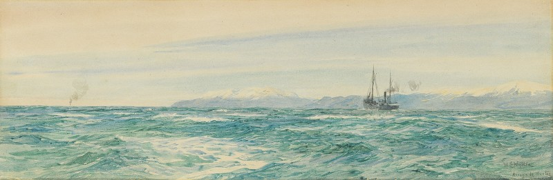 William Lionel Wyllie , RA, A ship steaming down the coast of Ancla Caja de Muertos, Puerto Rico
